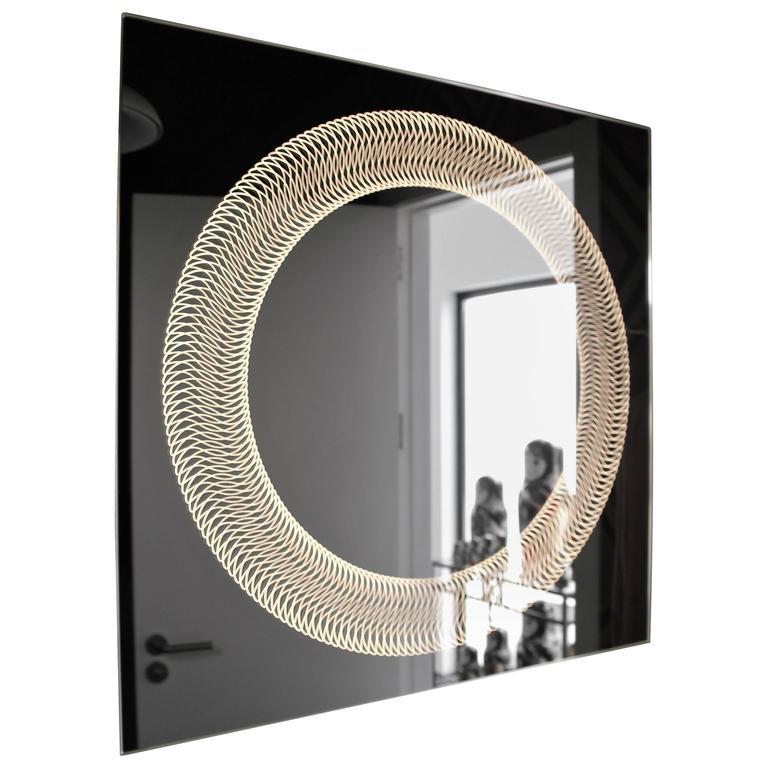 Modern Frameless Finely Etched Back Illuminated Glazz ...