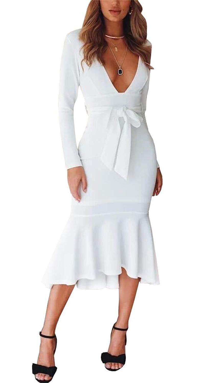 625dac1998 Deep V Neck Elegant Sexy Vintage Mermaid Midi Dress with Belt