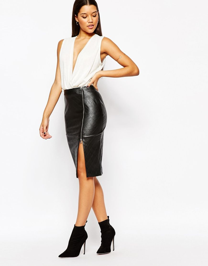 Lipsy Quilted Faux Leather Pencil Skirt With Side Split Zip | ASOS ...