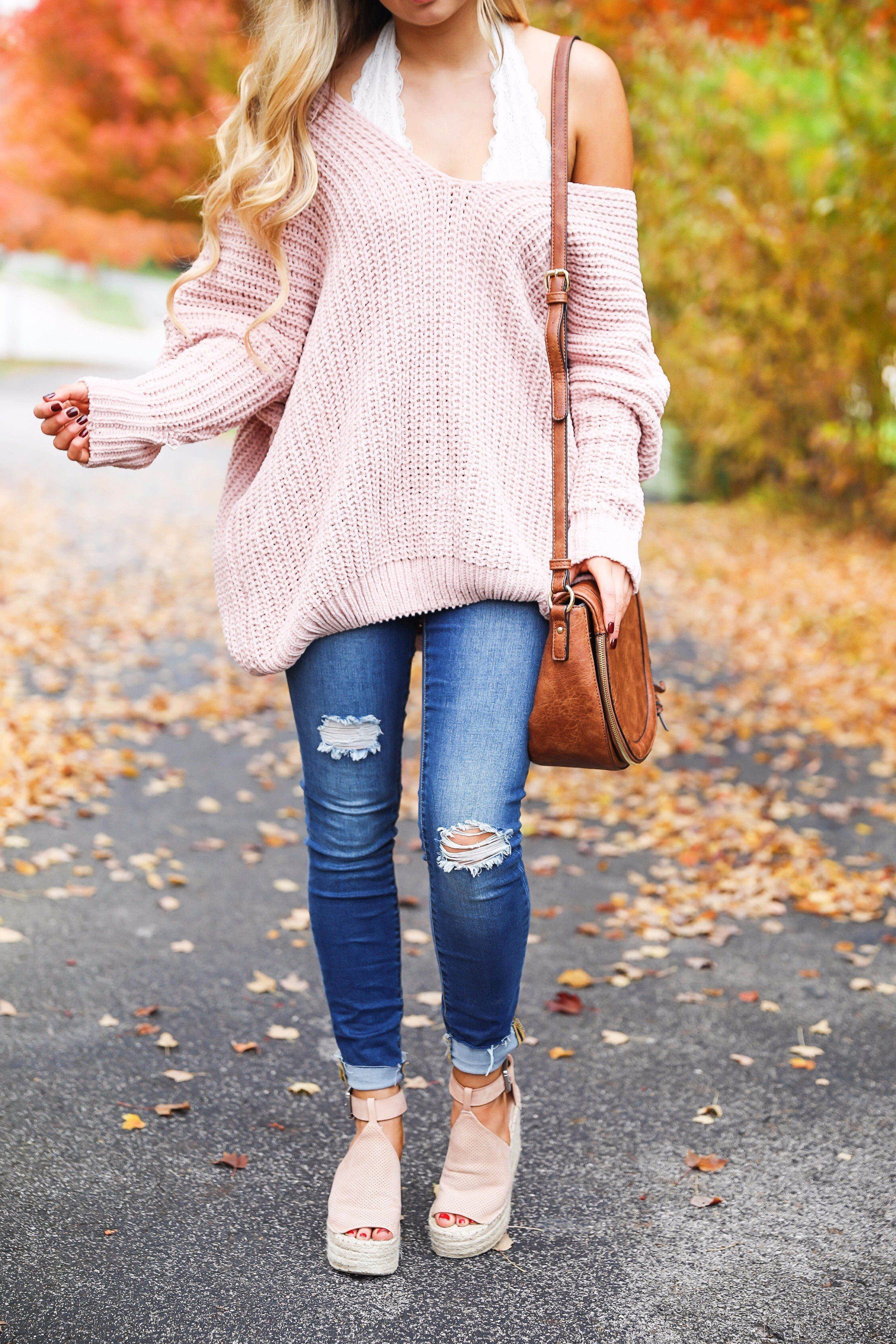 a1eda38fbe Pink slouchy sweater with cream free people bralette! The perfect sweater  for bralettes! Pretty fall foliage photoshoot on fashion blog daily dose of  charm ...