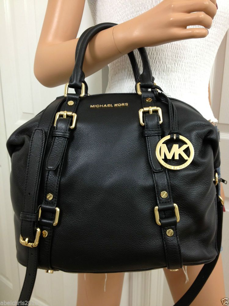 Nwt Michael Kors Black Medium Mk Bedford Leather Satchel Bowling Shoulder Bag Michaelkors Totespersshoulderbags