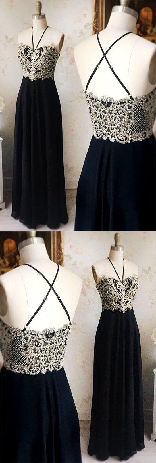 A line prom dresses appliques halter black long prom dress sexy