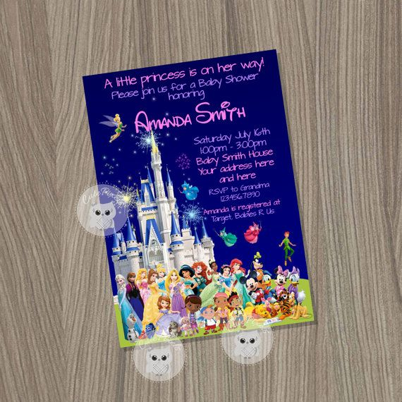 Baby Shower Invitation For Girl Disney By CutePixels World Birthday Disneyland