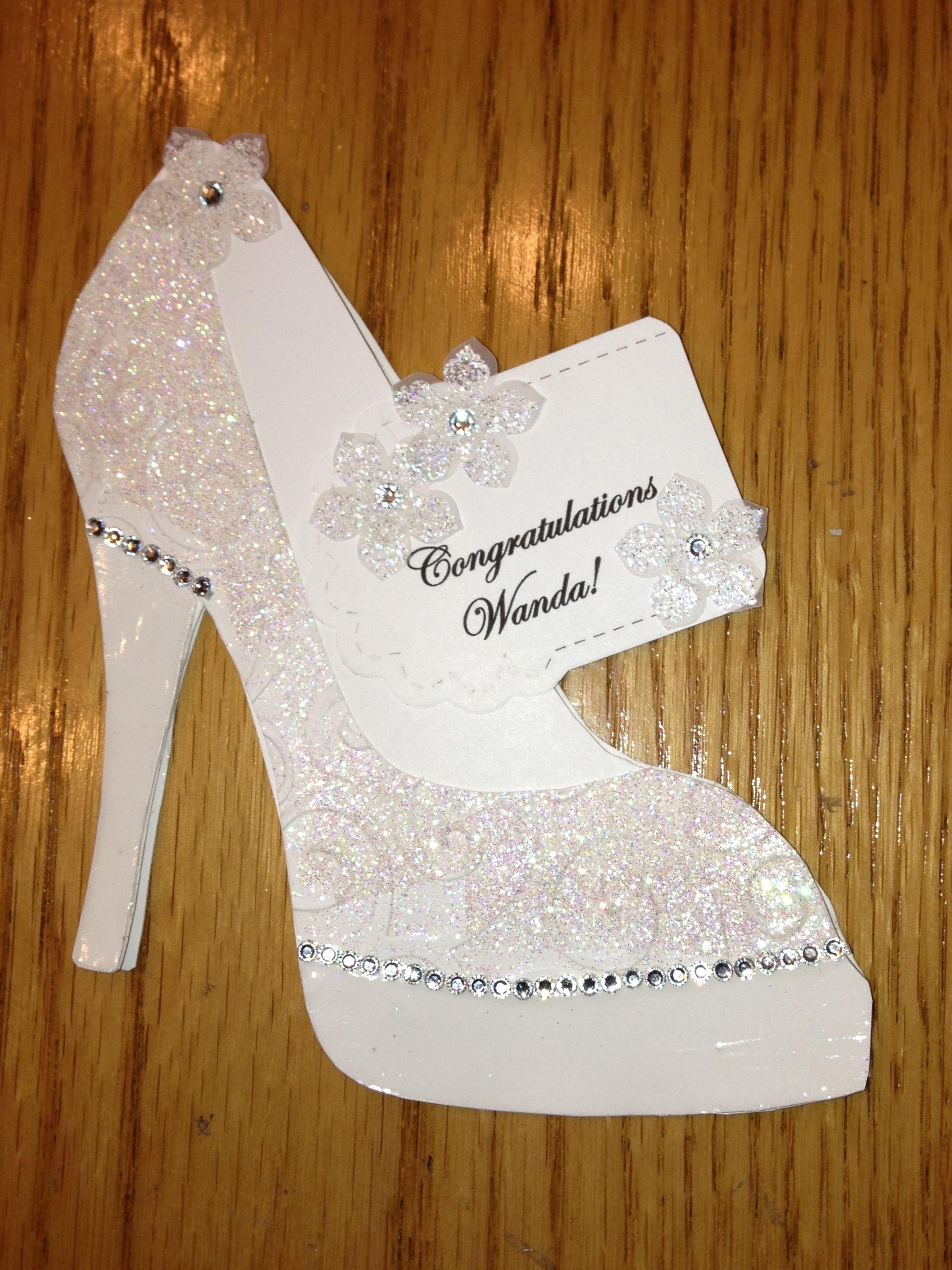 High Heel Shoe Card Bridal Shower Tanya Bell S High Heel Shoe Template Was Used Shoe Template Paper Shoes High Heels