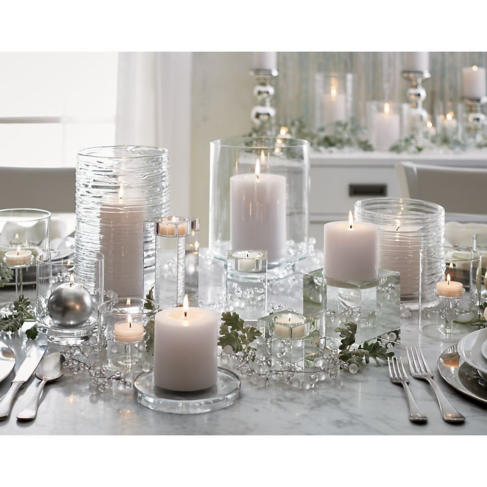Large Round Glass Candle Coaster - Crate and Barrel   Round glass ...