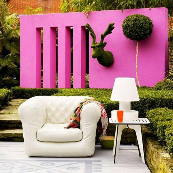Perfect Moderne Garten Ideen Sichtschutz Rosa Wand Dekoration