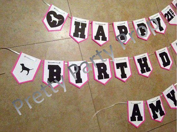 Victoria Secret Pink Themed Banner, Victoria Secret Birthday Banner
