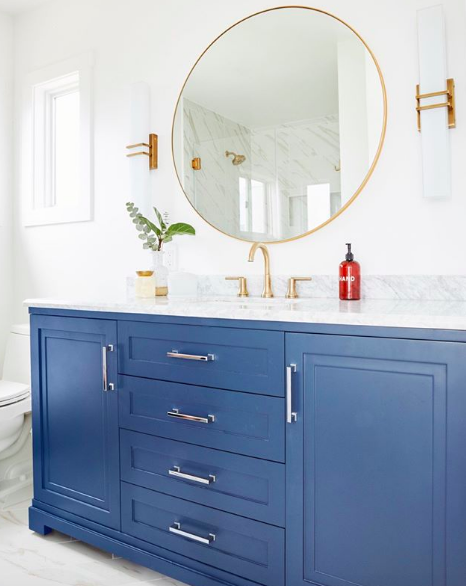 Photo of Mixed Metals and Cobalt Blue Create a Stunning Bathroom | Hunker