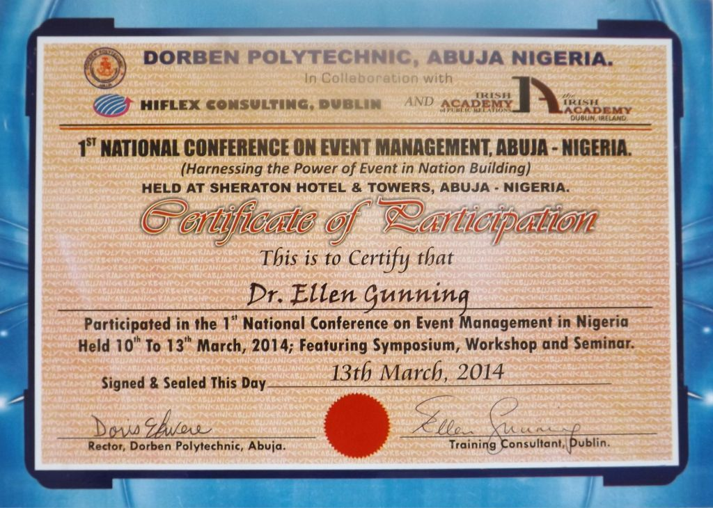 Dorben Conference Certificate First National Event Management