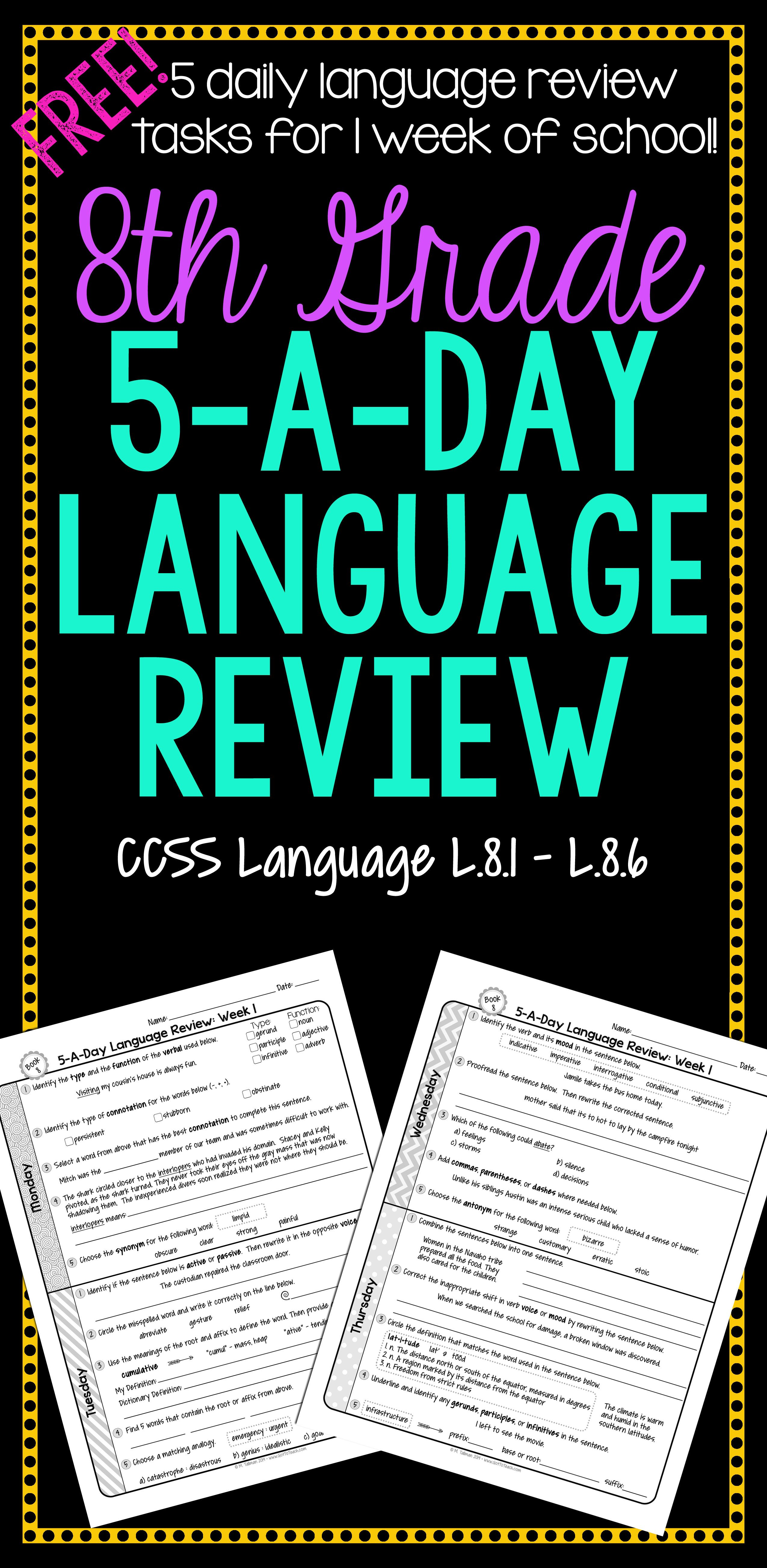hight resolution of 8th Grade Daily Language Spiral Review - 1 Week FREE   Daily language  review
