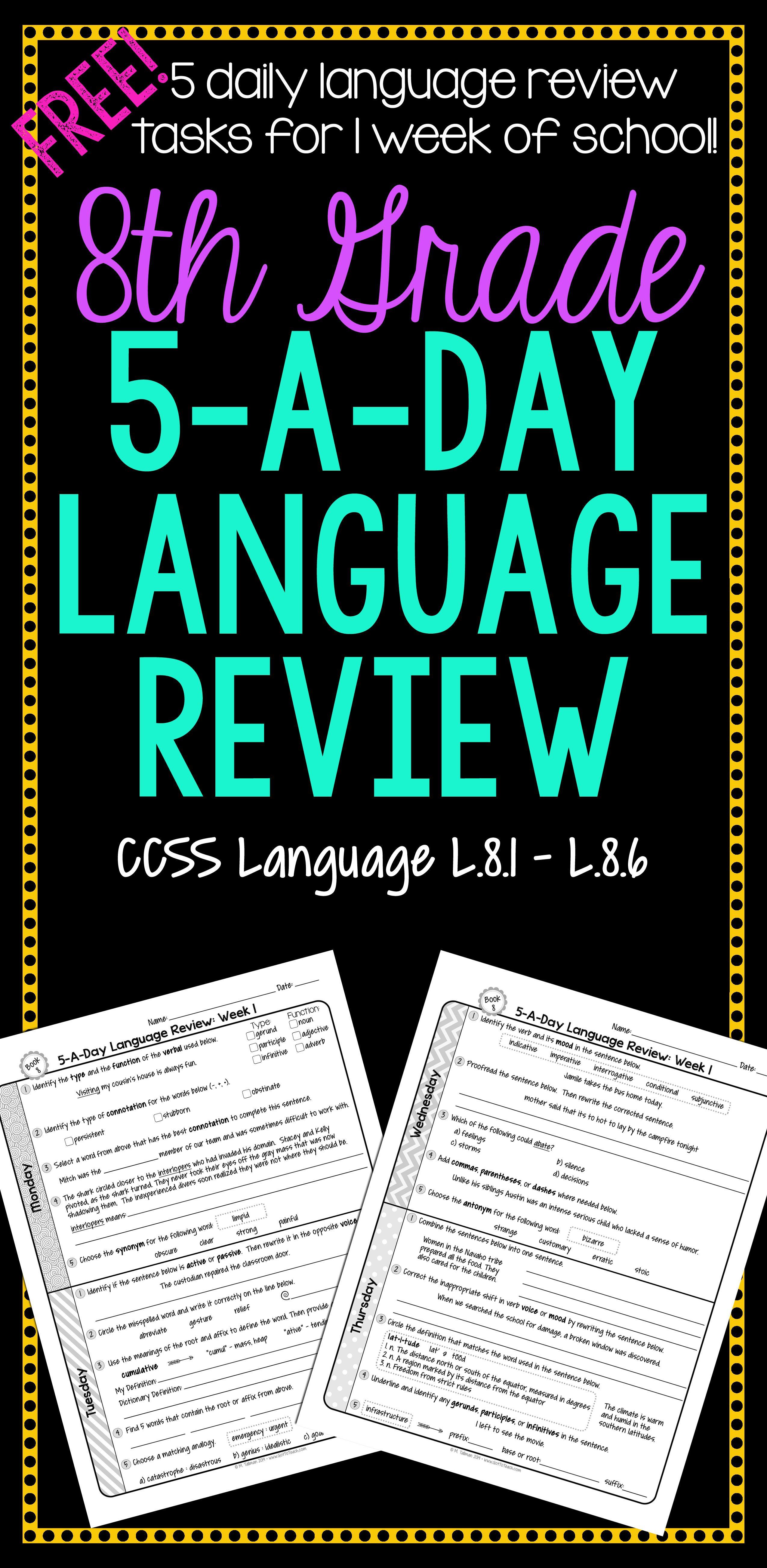 8th Grade Daily Language Spiral Review - 1 Week FREE   Daily language  review [ 5214 x 2550 Pixel ]