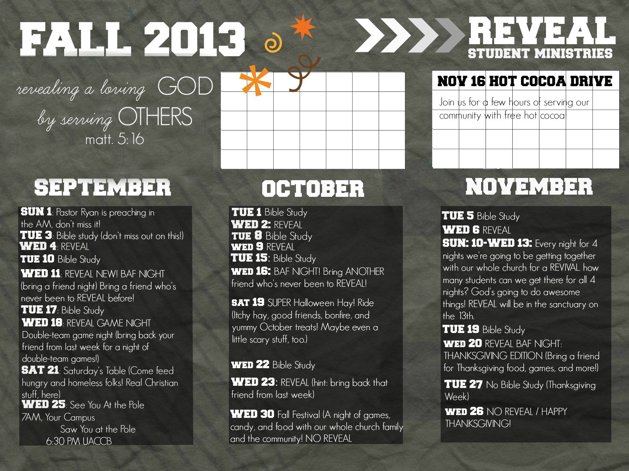 Youth Ministry Calendar Ideas : Reveal youth group fall calendar possibly send out to the