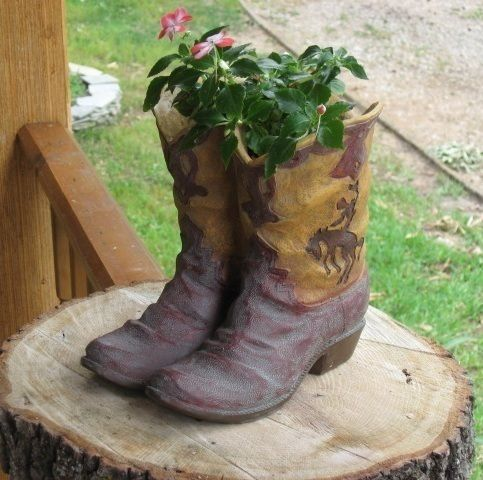 Western Cowboy Boot Flower Pot Planter Country Plant Holder