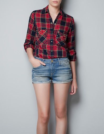 3c6ead48 STUDDED CHECKED SHIRT - Shirts - Woman - ZARA United States ** worn with  studded shorts, love