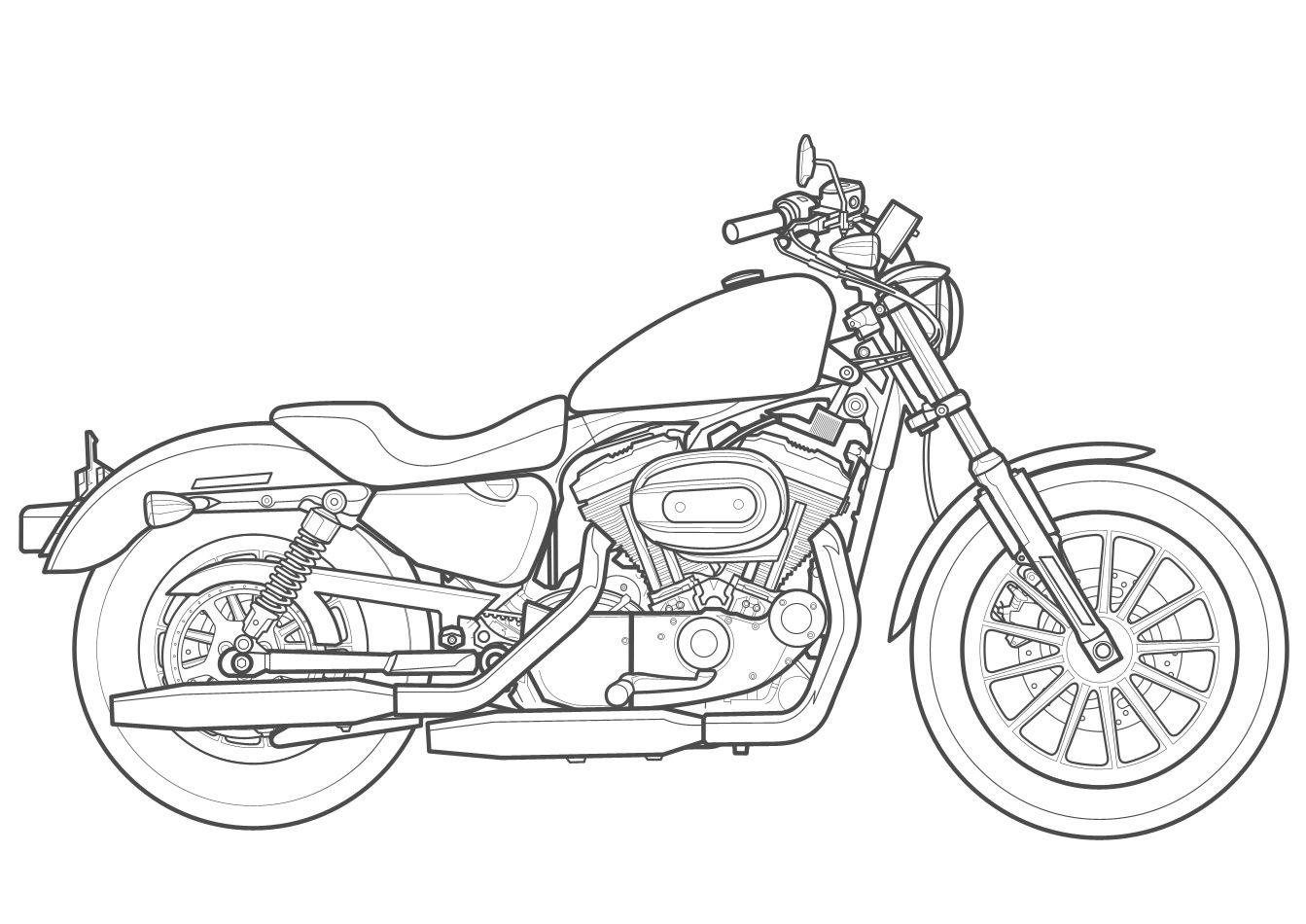 Line Drawing Of Harley Davidson