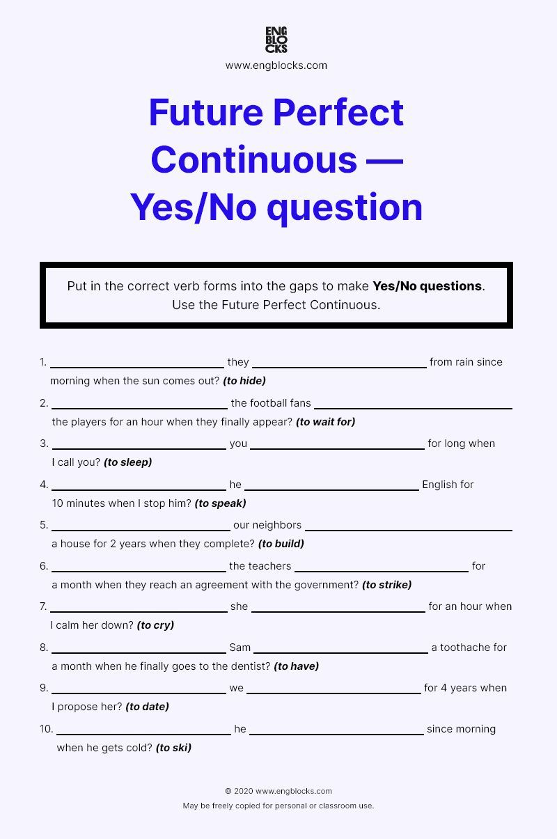Worksheet Future Perfect Continuous Yes No Question English Grammar Future Perfect Yes Or No Questions This Or That Questions [ 1205 x 800 Pixel ]