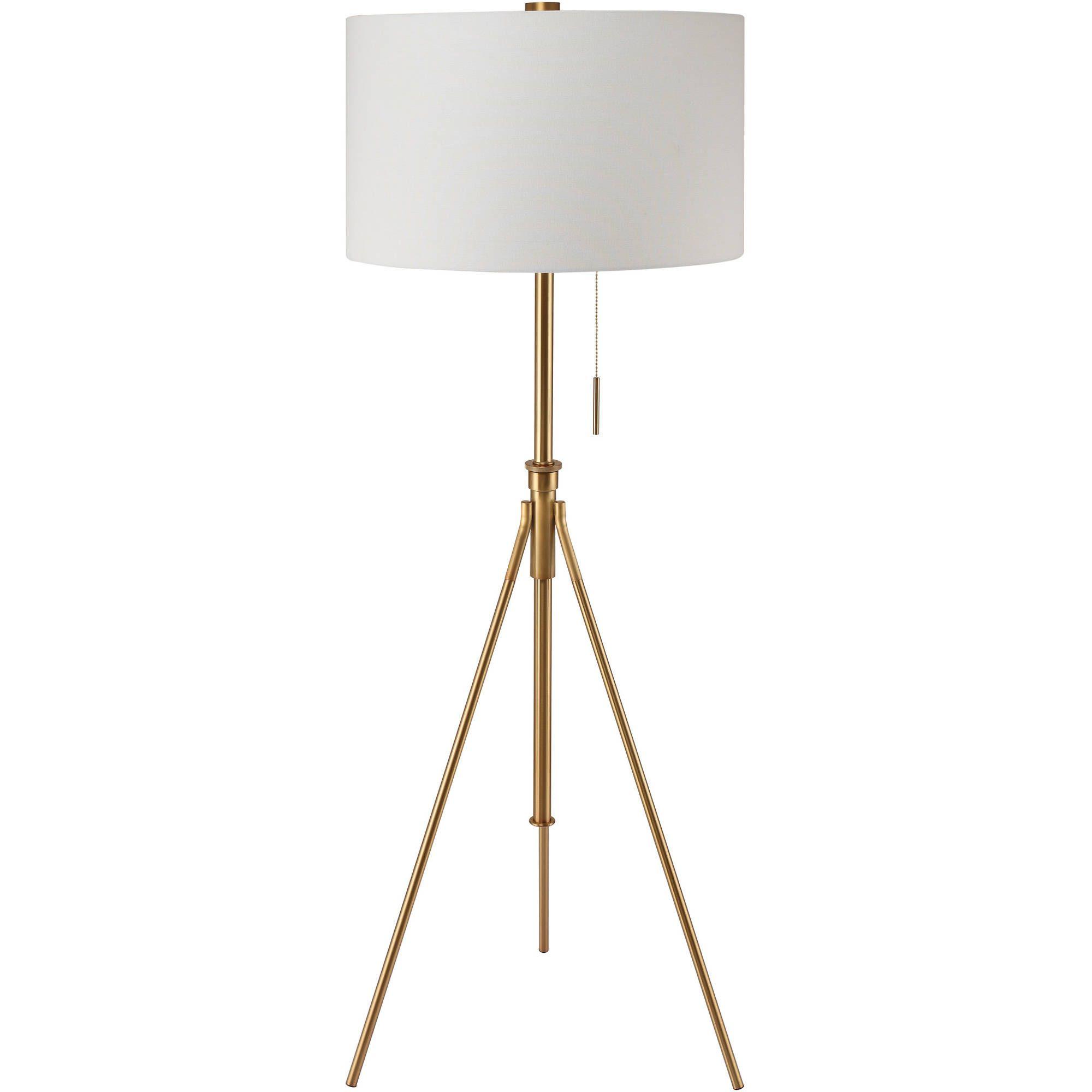 "58"" to 72""H MidCentury Adjustable Tripod Gold Floor Lamp"