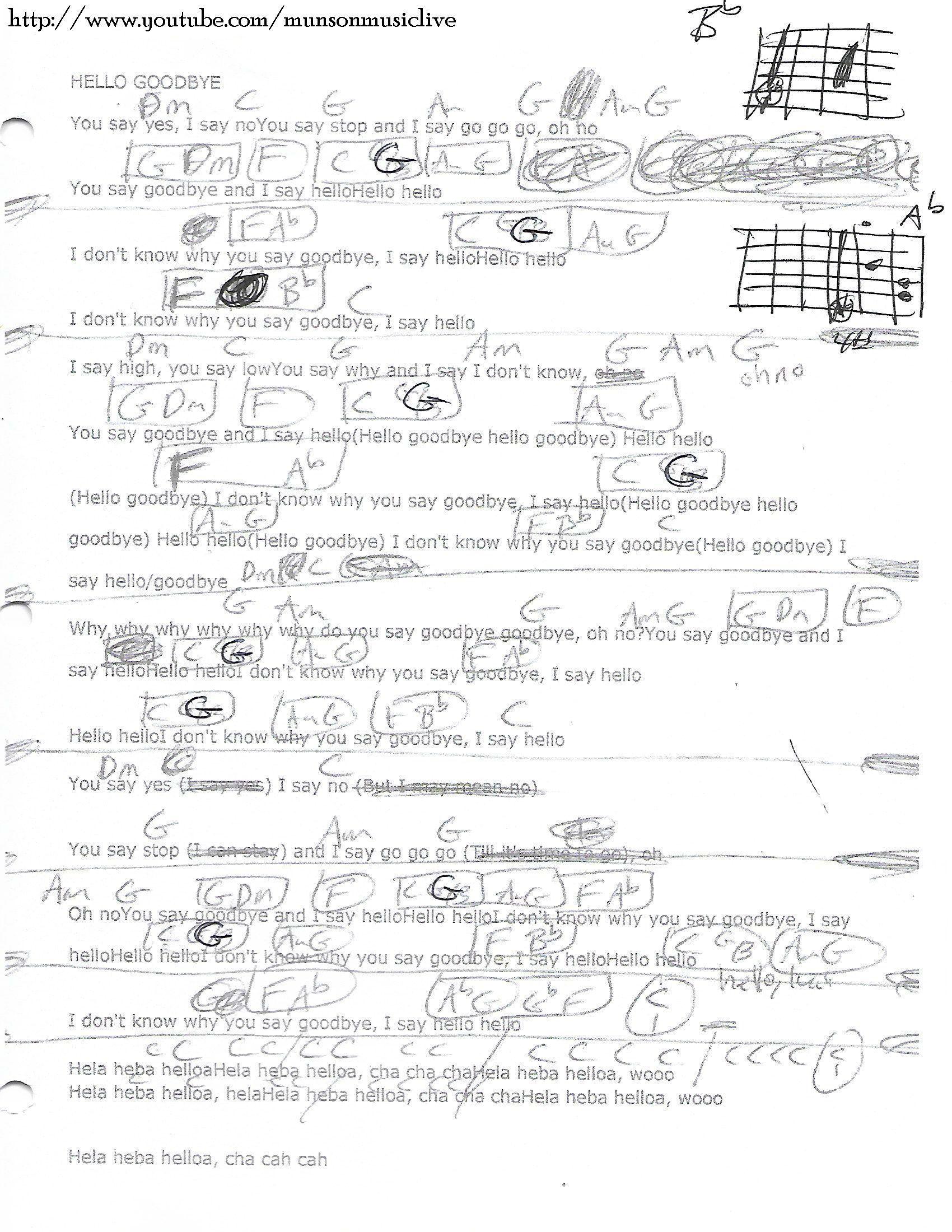 Hello Goodbye The Beatles Guitar Chord Chart Lyrical Pinterest