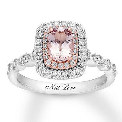 e6e516925 Neil Lane Morganite Engagement Ring 5/8 ct tw Diamonds 14K Gold ...