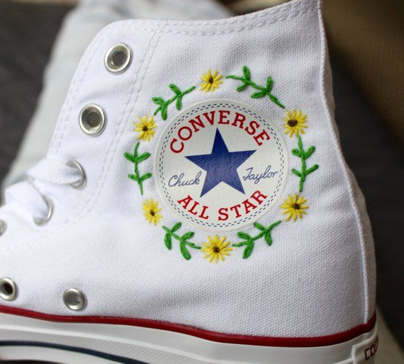 Floral Logo Converse Embroidery (With images)   Embroidery