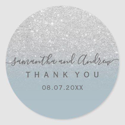 glitter dusty blue script Thank you Classic Round Sticker