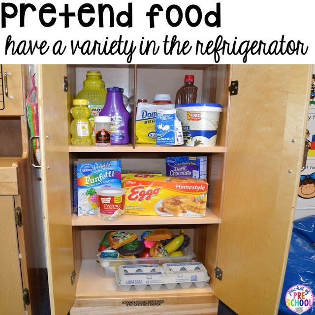 Setting up your dramatic play classroom - what's in the refrigerator? Real or imaginary props? #homeliving #preschool #prek #dramaticplay
