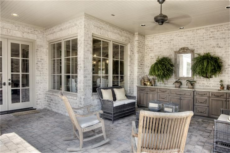 I love the white washed brick/color washed brick.....