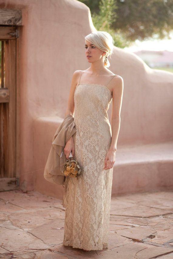 Ivory Taupe Floral Lace Bridal Wedding Dress Dress Pinterest