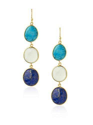 70% OFF Saachi Blue & Green Triple Stone Drop Earrings