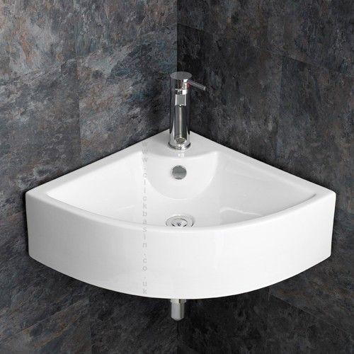 Wall Mounted Prato Large White Ceramic Corner Bathroom Sink
