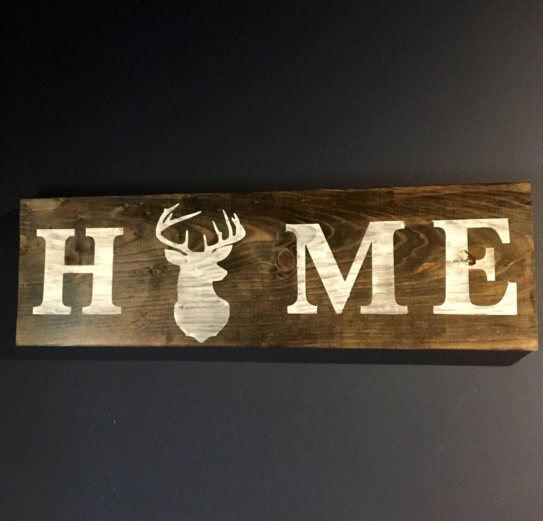 hunting home decor antler art nature inspired art deer wood sign