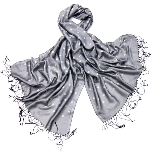 da8182d9ffc4 Etole foulard gris pois soie viscose - Etole Etole soie - Mes ...
