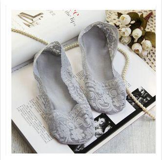 Fashion Women's Cotton Lace Antiskid Invisible Liner Low Cut Socks 2K8G