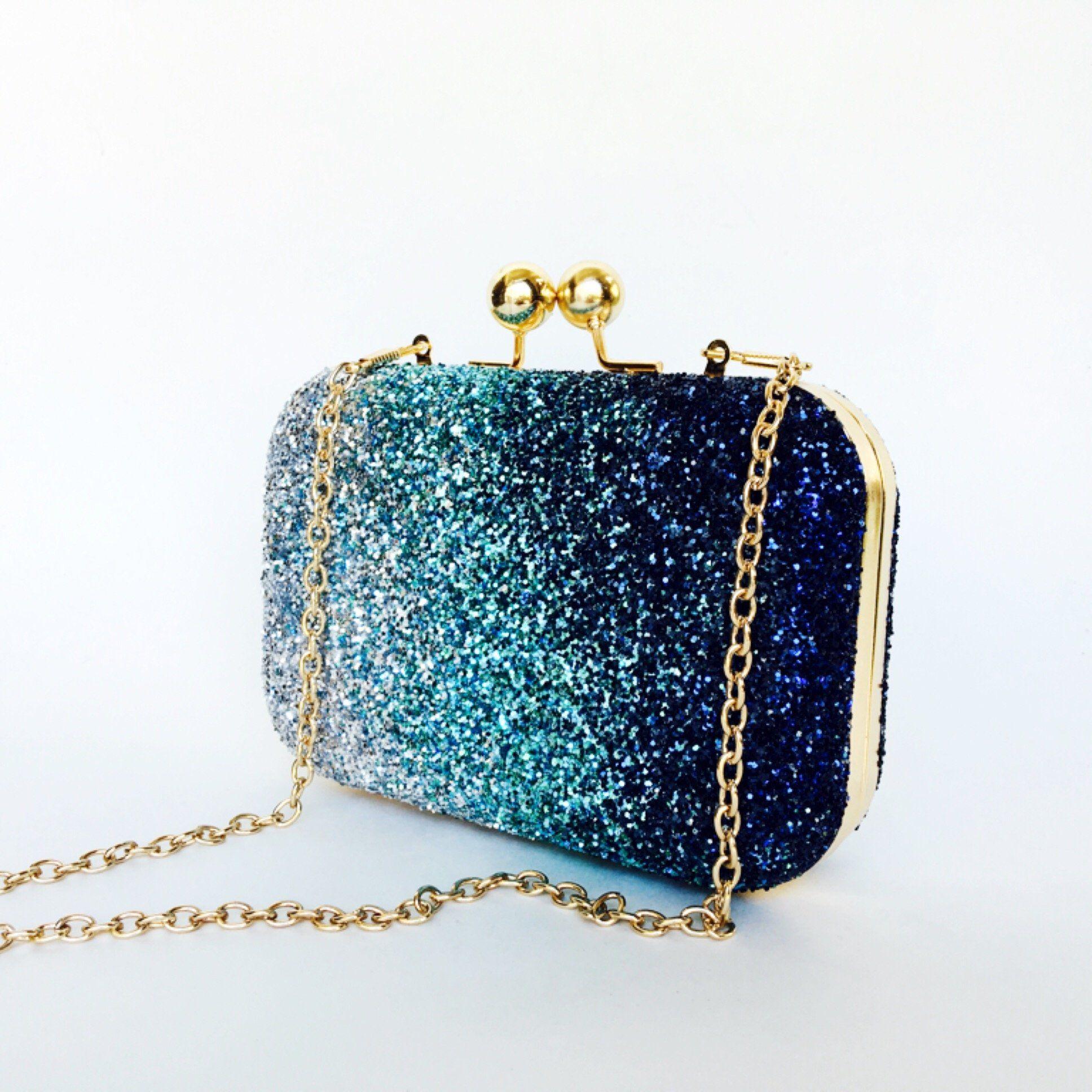 Vintage Women Sequins Dazzling Glitter Hard Case Clutch Evening Party HandBag