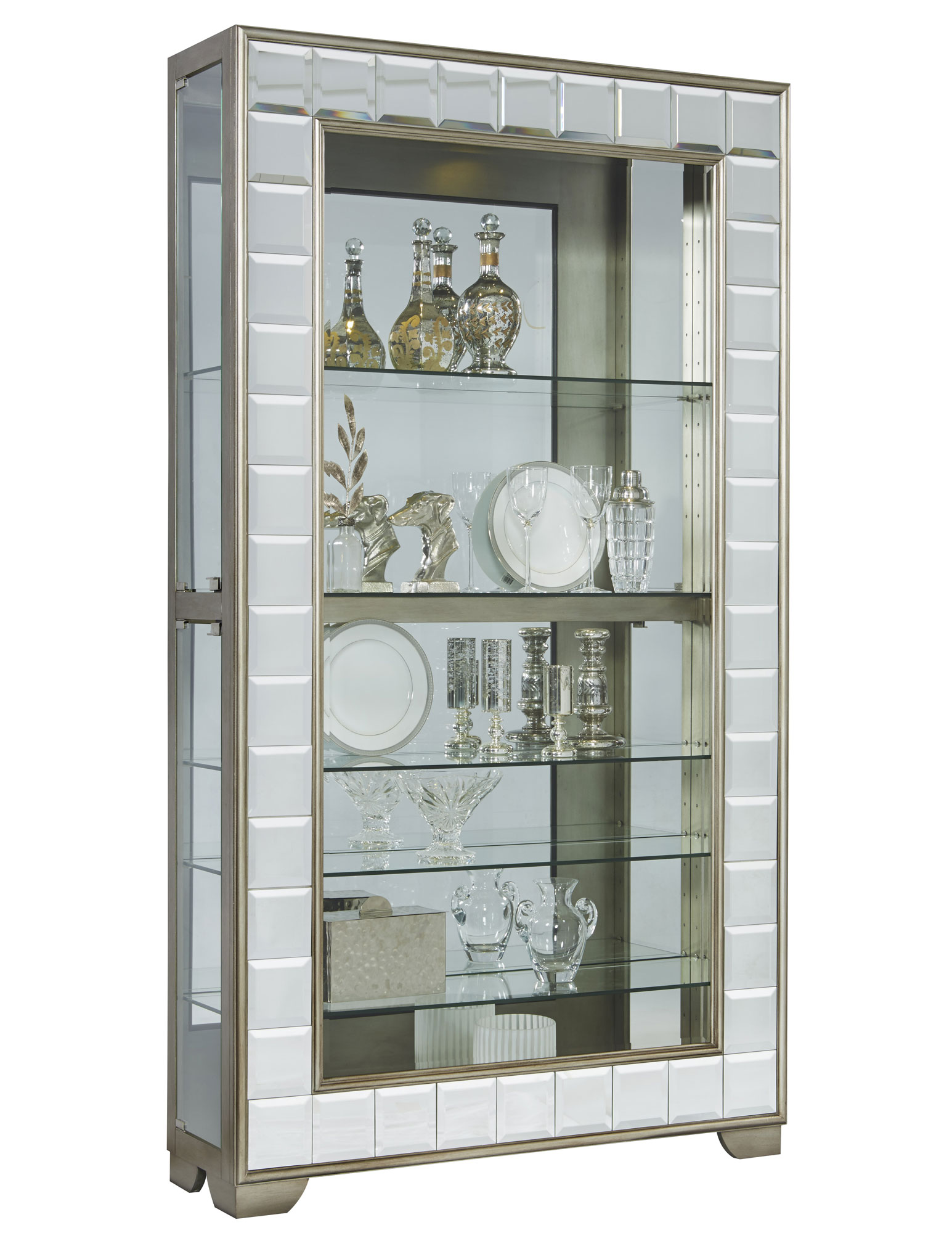 Side Entry Mirrored Curio Cabinet in Platinum | Pulaski ...