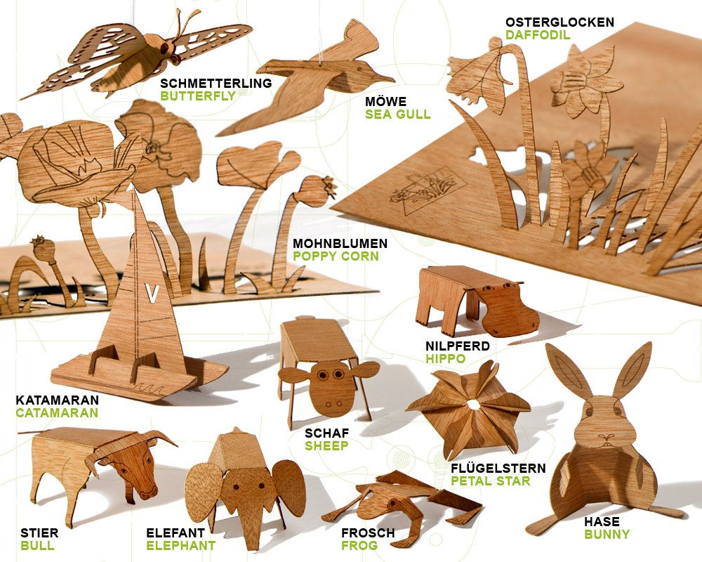 postcard wood free choice set by formesberlin on Etsy