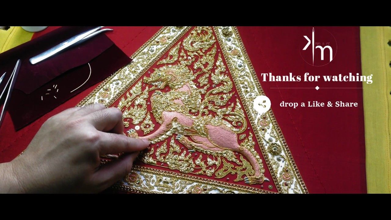 #embroidery #goldwork #art embroidery with me 001 : goldwork embroidery for backrest pillow - YouTube