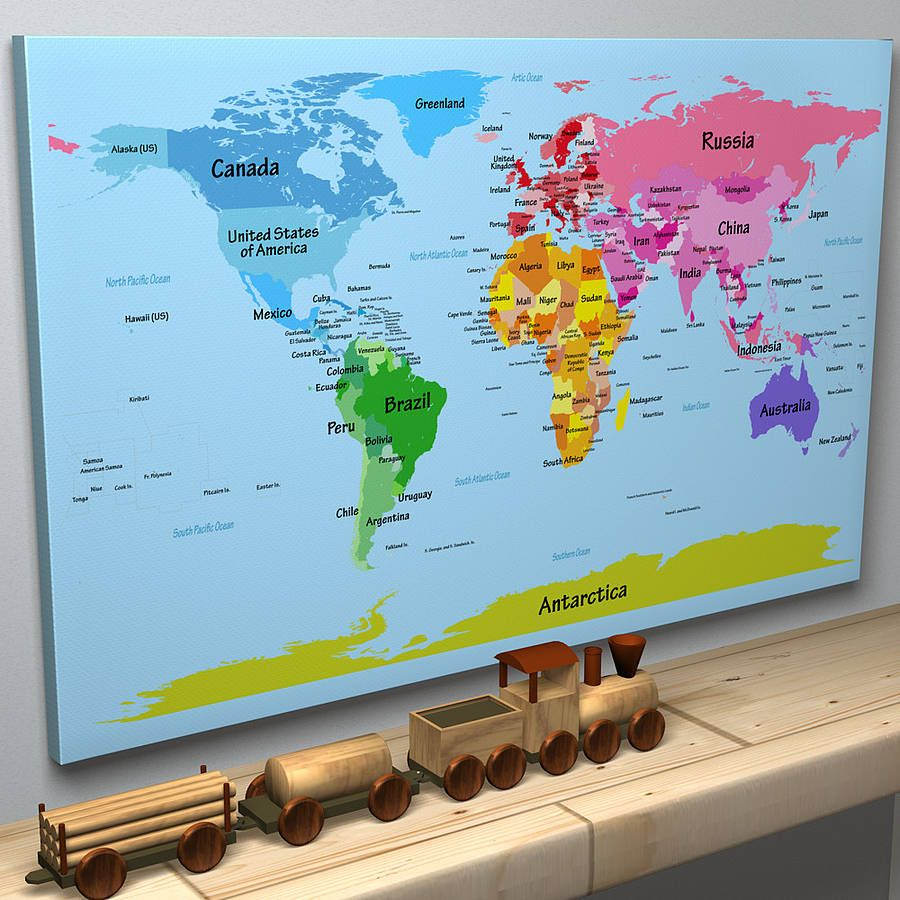 Childs big text world map children s texts and child friendly a bright and colourful world map with large country names making it ideal for children gumiabroncs Image collections