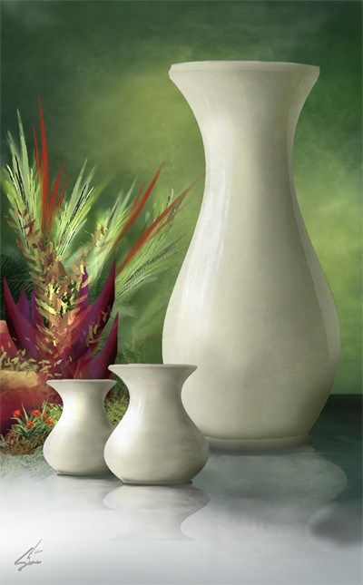 Three Vases - Still life green art print