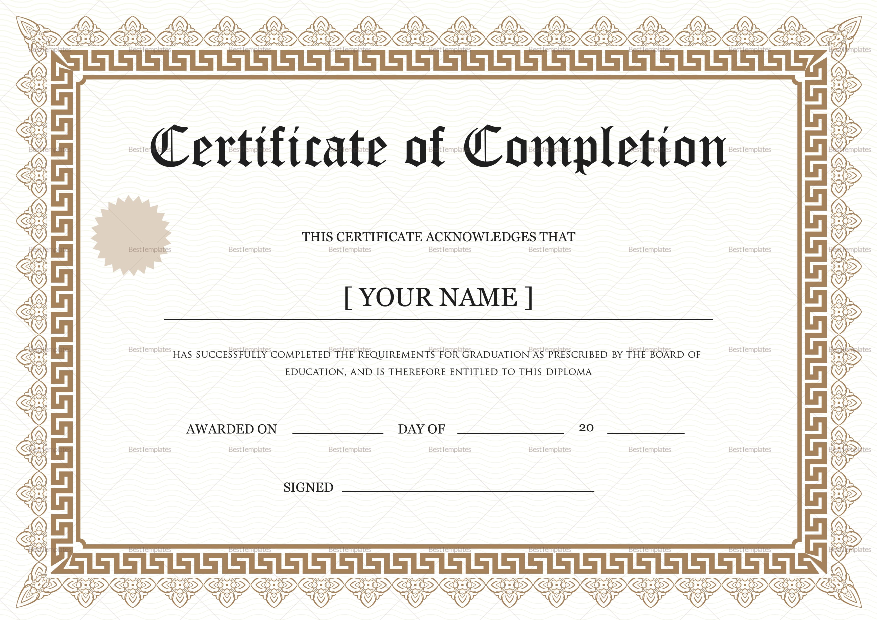 Bachelor Degree Completion Certificate Template Graduation