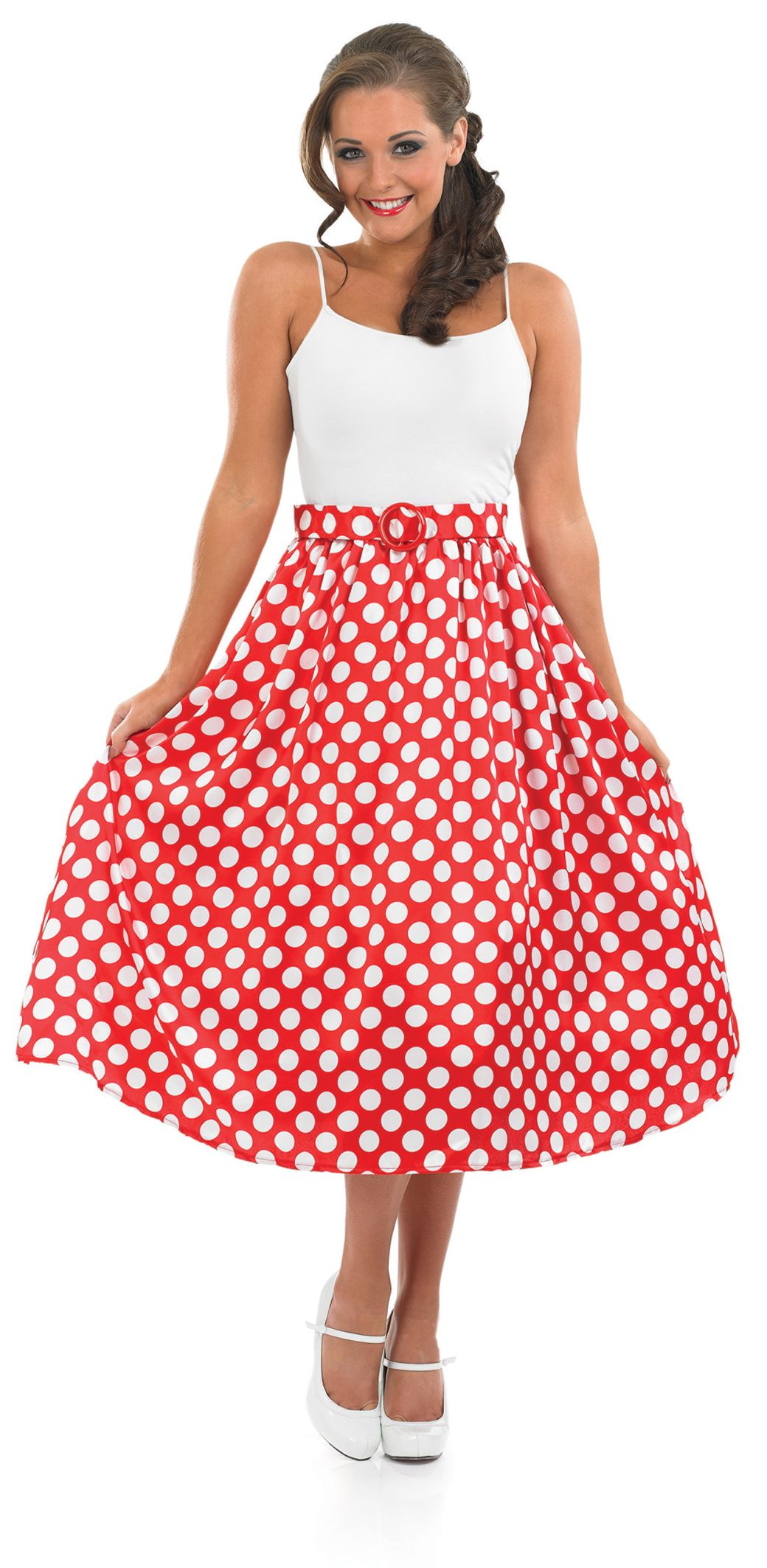 Red Polka Dot Skirt 50\'s Rock n Roll Ladies 1950s Fancy Dress ...