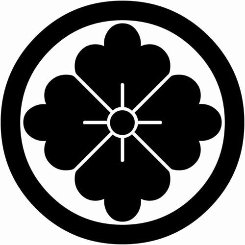 丸に花角 まるにはなかく 家紋 和 デザイン 紋章