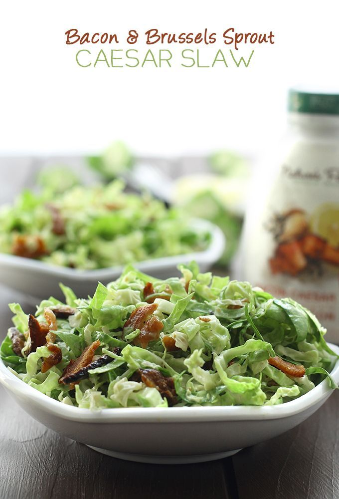 Bacon and Brussels Sprout Caesar Slaw - #lunch ready in 10 minutes! // thehealthymaven.com