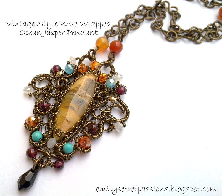 Vintage Style Wire Wrapped Ocean Jasper Pendant | Come On..DO IT ...
