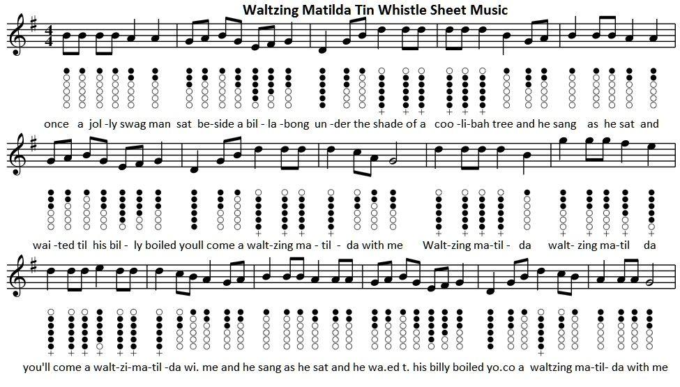 Waltzing Matilda Tin Whistle Sheet Music Tin