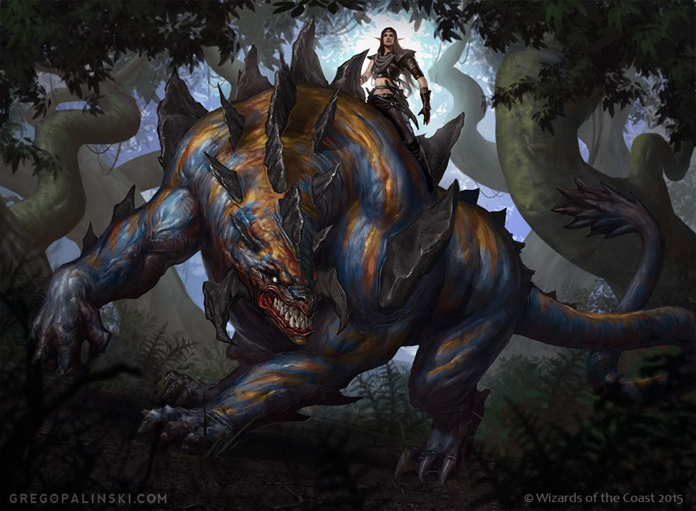 Tajuru Beastmaster by Greg-Opalinski Magic the Gathering MTG elf ranger fighter riding dinosaur drake forest woods player character npc monster beast creature animal   Create your own roleplaying game material w/ RPG Bard: www.rpgbard.com   Writing inspiration for Dungeons and Dragons DND D&D Pathfinder PFRPG Warhammer 40k Star Wars Shadowrun Call of Cthulhu Lord of the Rings LoTR + d20 fantasy science fiction scifi horror design   Not Trusty Sword art: click artwork for source