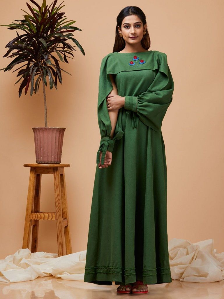 5c1298d0c0 Buy Green Embroidered Khadi Cotton Cape Dress online at Theloom