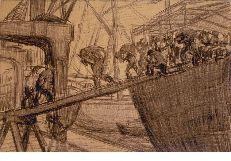 """""""Descarregant un vaixell"""" — Antoni Samarra i Tugues (c. 1913), MAMLL - 0351. Carbó sobre paper, 21 x 32 cm."""