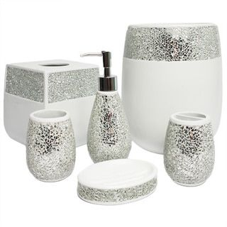 This Ornate Hand Crafted Bathroom Accessory Set Is Available As A Or In Individual Pieces Beautiful Silver Ed Gl Detail For Truly Dazzling