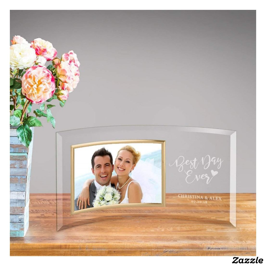 Best Day Ever Engraved Curved Glass Picture Frame